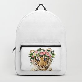 Baby Tiger With Flower Crown, Baby Animals Art Print By Synplus Backpack