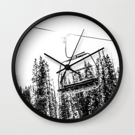 Empty Skilift // Black and White Snowboarding Dreaming of Winter Wall Clock