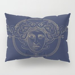 medusa / gold minimal line logo on navy background Pillow Sham