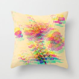 Botanical Flower Glitch Throw Pillow