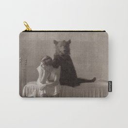 The Bear that came for Dinner black and white photograph Carry-All Pouch