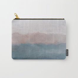 Turquoise Aqua Blue Coral Rose Pink Gray Abstract Painting, Modern Wall Art, Ocean Sunset Sand Wave Carry-All Pouch