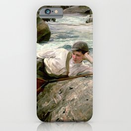 On his Holidays by John Singer Sargent - Vintage Fine Art Oil Painting iPhone Case