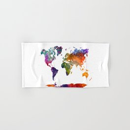 World map in watercolor 26 Hand & Bath Towel