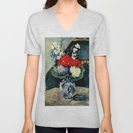 "Paul Cezanne ""Delft vase with flowers"" Unisex V-Neck"