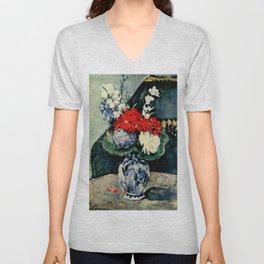 "Paul Cezanne ""Delft vase with flowers"" Unisex V-Neck"