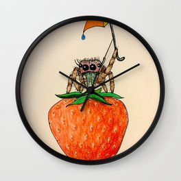 Strawberry Spider with Umbrella Wall Clock