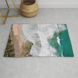Waves of the ocean | Ericeira fine art travel photography | sea drone wall art Rug