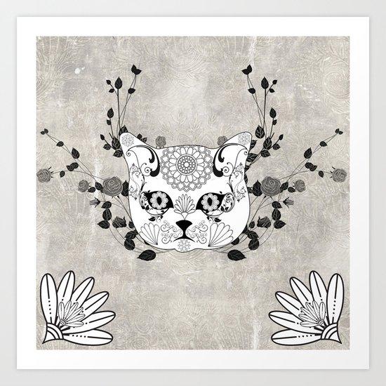 Wonderful sugar cat skull Art Print