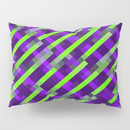 geometric pixel square pattern abstract background in purple green Pillow Sham