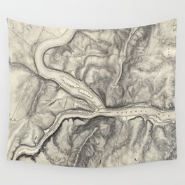 Vintage Map of Harpers Ferry (1863) Wall Tapestry