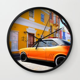 Classic Orange Car and Building Bo Kaap Cape Town South Africa Wall Clock