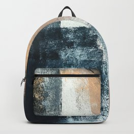 Just like Honey [3]: a pretty, minimal abstract mixed-media piece in blue, gold, and pink Backpack