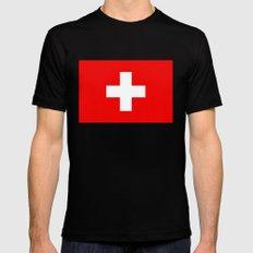 Flag of Switzerland - 2:3 scale Black MEDIUM Mens Fitted Tee