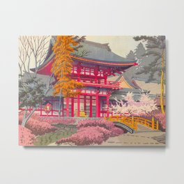 Japanese Woodblock Print Vintage Bright East Asian Red Pagoda Spring Garden Metal Print