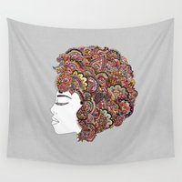 hair Wall Tapestries featuring Her Hair - Les Fleur Edition by Bianca Green