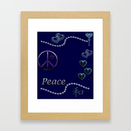 Beads Stars Peace and Hearts Framed Art Print