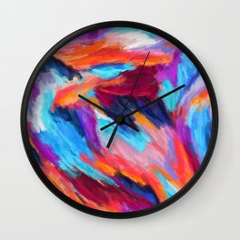 Bright Abstract Brushstrokes Wall Clock