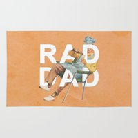 dad Area & Throw Rugs featuring Rad Dad by Heather Landis