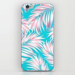 Palm Tree Fronds Hot Pink on Turquoise Hawaii Tropical Décor iPhone Skin