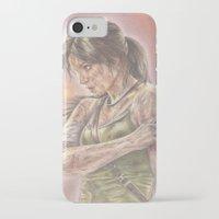 lara croft iPhone & iPod Cases featuring Miss Croft by JadeJonesArt