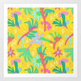 Australian Kangaroo Paw Floral in Golden Mango Art Print