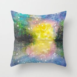 Crescent Moon Reflection Galaxy watercolor by CheyAnne Sexton Throw Pillow
