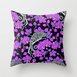 Chameleons and orchids (Gothic) Throw Pillow