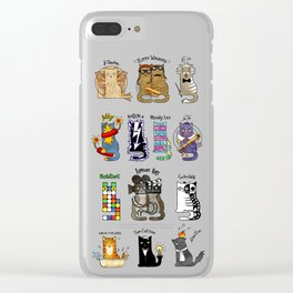 Science cats. History of great discoveries. Schrödinger cat, Einstein. Physics, chemistry etc Clear iPhone Case