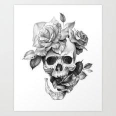 Black and white Skull and Roses Art Print