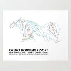 Okemo Mountain Resort, VT - Minimalist Trail Art Art Print