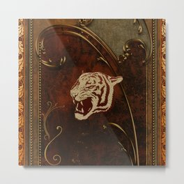Wonderful  tiger head, golden colors Metal Print