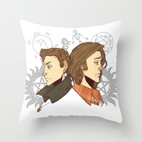 winchester Throw Pillows featuring Winchester Bros by PotatoCrisp