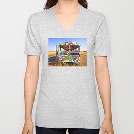 Colorful pop art graffiti painted magical old school bus Unisex V-Neck