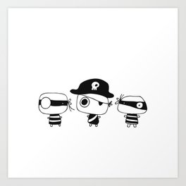 Three Pirates, Black Art Print