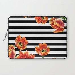 Red Orange Tulips Black Stripes Chic Laptop Sleeve