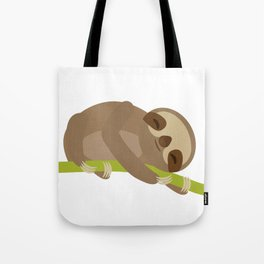 funny and cute Three-toed sloth on green branch Tote Bag