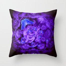 Mysterious blue butterflies Throw Pillow
