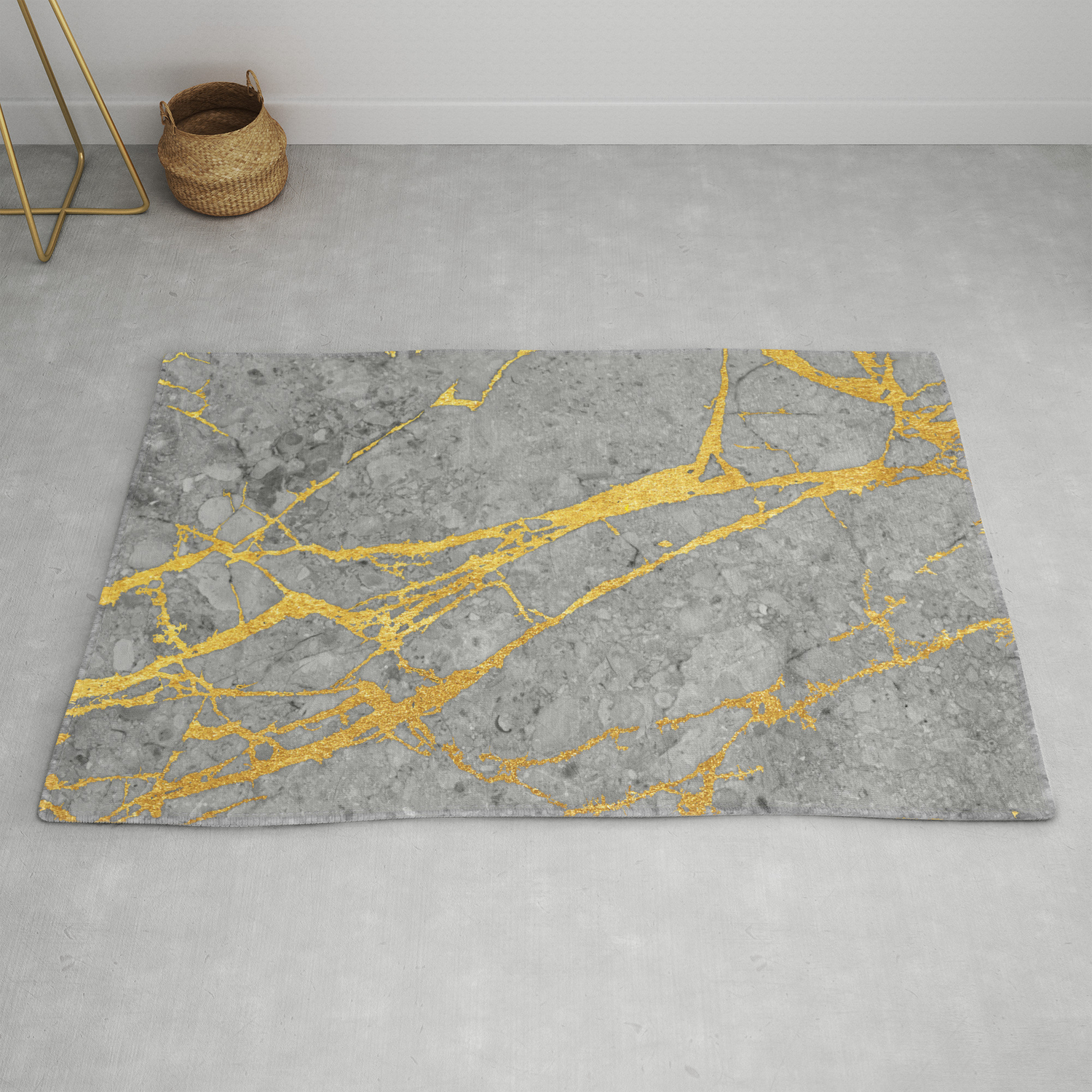 Grey Marble And Gold Rug By Calacatta Society6