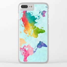 Watercolor World Map Bright Rainbow Adventure Awaits in Aqua Clear iPhone Case