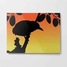 Black-crowned Night-Heron Silhouette at Sunset Metal Print