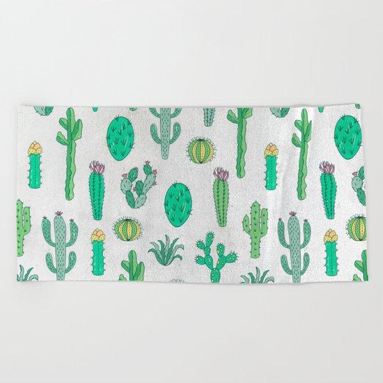 Cactus Pattern White Beach Towel