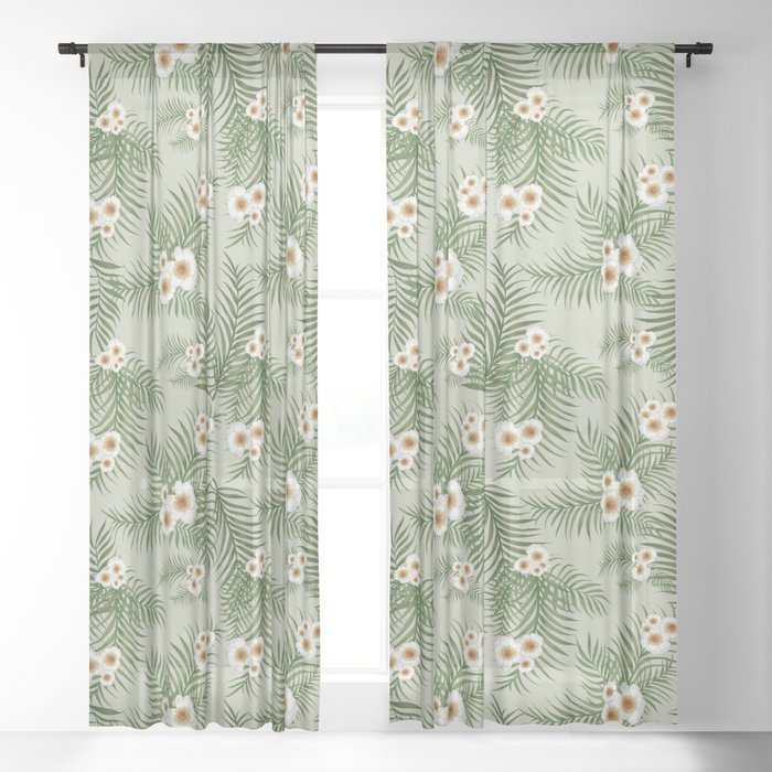 Vintage Jungle Pattern #society6 #decor #buyart Sheer Curtain