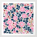07 Floral pattern. White background. Pink flowers. by ann_and_pen