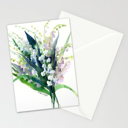 Lilies of the Valley, spring floral design flowers sring design wood flowers Stationery Cards