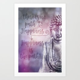 Buddha Path to Happiness Inspirational Typography Art Print