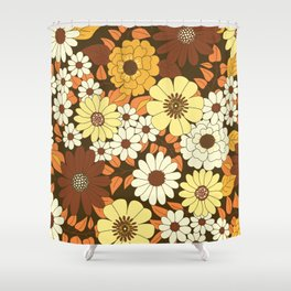Brown, Orange, Ivory & Yellow Retro Flower Pattern Shower Curtain