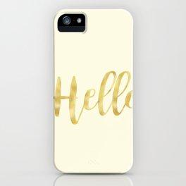 Hello in Golden Yellow on Cream iPhone Case