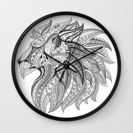 Ethnic Tribal Lion Doodle 02 Wall Clock