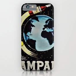 Vintage 1963 Rocket Bottle & Planet Bitter Campari Advertisement iPhone Case